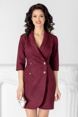 Rochie de zi mov pruna stil sacou confectionata dintr-un material cu aspect catifelat Ilona