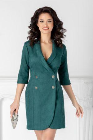 Rochie de zi verde stil sacou confectionata dintr-un material cu aspect catifelat Ilona