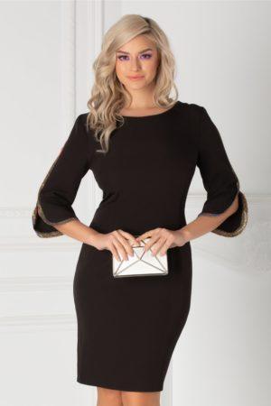 Rochie scurta neagra eleganta cu croi cambrat si benzi stralucitoare aplicate la manecile cu decupaje Irina