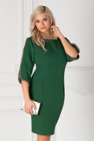 Rochie scurta verde eleganta cu croi cambrat si benzi stralucitoare aplicate la manecile cu decupaje Irina
