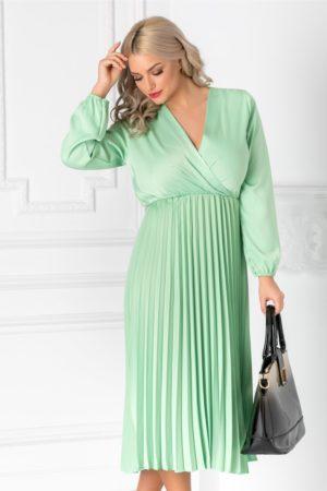 Rochie one size verde deschis cu fusta midi plisata si decolteu in V petrecut Irissa