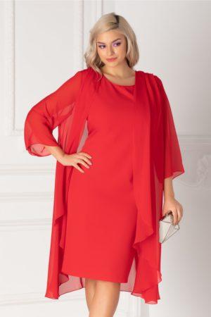 Rochie midi eleganta rosie din voal cu capa vaporoasa detasabila Isidor pentru femei plinute