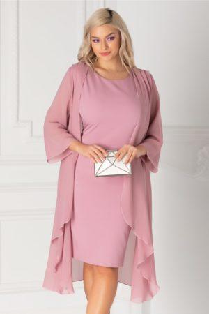 Rochie midi eleganta roz prafuit din voal cu capa vaporoasa detasabila Isidor pentru femei plinute