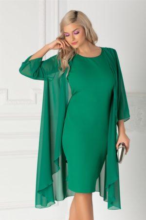 Rochie midi eleganta verde din voal cu capa vaporoasa detasabila Isidor pentru femei plinute