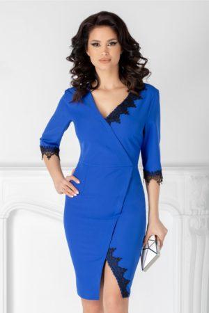 Rochie albastra scurta feminina si eleganta cu decolteu adanc in V si insertii din dantela Katie