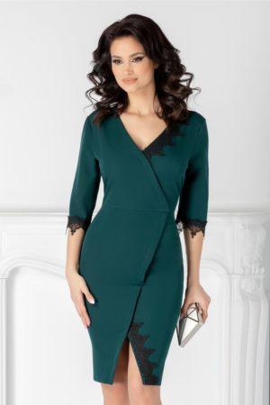 Rochie verde inchis scurta feminina si eleganta cu decolteu adanc in V si insertii din dantela Katie