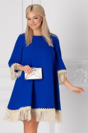 Rochie scurta larga albastra pentru ocazie accesorizata cu broderie handmade si franjuri LaDonna
