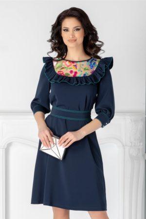Rochie scurta eleganta bleumarin de ocazie cu broderie colorata si volane la bust LaDonna cu maneci trei sferturi