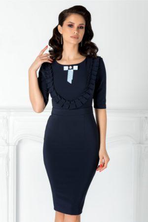 Rochie eleganta bleumarin midi cu volane si fundita discreta la bust LaDonna pentru femei plinute