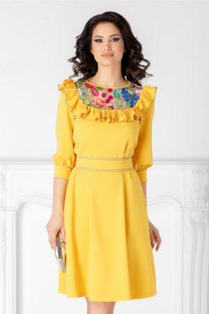 Rochie scurta eleganta galbena de ocazie cu broderie colorata si volane la bust LaDonna cu maneci trei sferturi