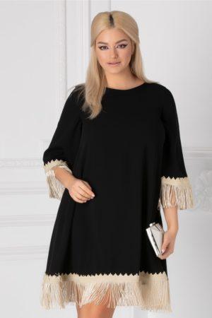 Rochie scurta larga neagra pentru ocazie accesorizata cu broderie handmade si franjuri LaDonna
