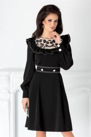 Rochie scurta eleganta neagra de ocazie cu dantela si volane la bust LaDonna cu maneci lungi cu mansete