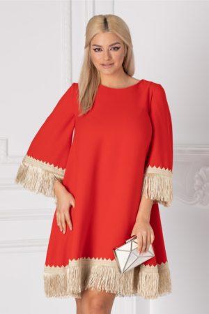 Rochie scurta larga rosie pentru ocazie accesorizata cu broderie handmade si franjuri LaDonna