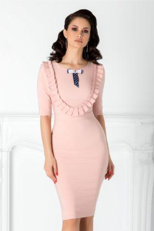 Rochie eleganta roz midi cu volane si fundita discreta la bust LaDonna pentru femei plinute