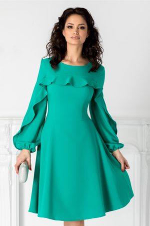 Rochie de zi verde scurta cu volane la bust si la maneci LaDonna cu croiala in clos