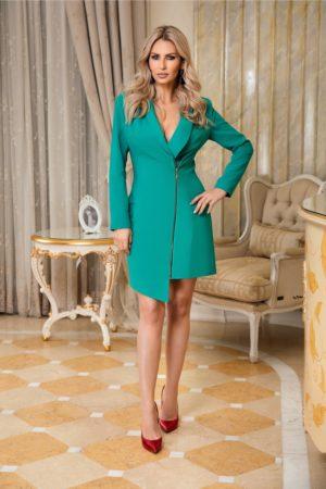 Rochie scurta verde eleganta tip sacou cu fermoar auriu si maneci lungi LaDonna