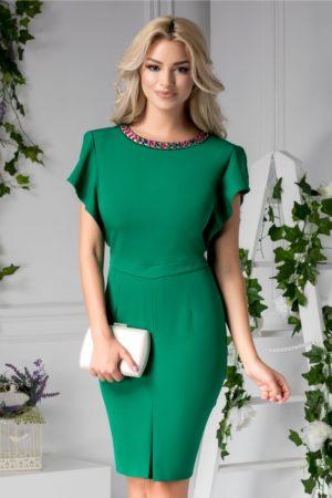 Rochie midi verde conica de ocazie cu aplicatii decorative la guler si maneci evazate Lara