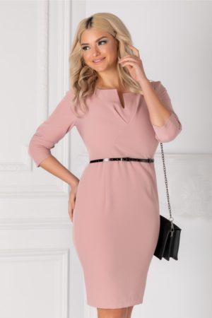 Rochie midi roz eleganta office cu pliuri la bust si maneci trei sferturi accesorizata cu curea subtire Laryss
