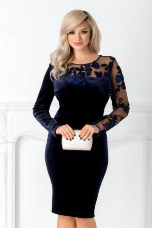 Rochie de seara bleumarin eleganta din catifea cu tull si broderie de lux in zona bustului Leonard Collection