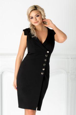Rochie midi neagra eleganta cu decolteu in V adanc si nasturi metalizati Leonard Collection