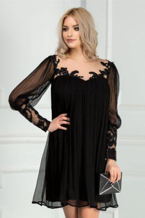 Rochie scurta neagra de seara realizata din matase naturala eleganta Leonard Collection