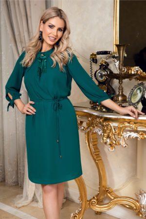 Rochie midi lejera din voal verde accesorizata cu funda stilata la guler Leonard Collection si maneci trei sferturi