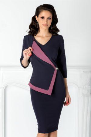 Rochie midi conica bleumarin cu rever stil sacou Linda de ocazie pentru femei plinute