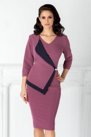 Rochie midi conica lila cu rever stil sacou Linda de ocazie pentru femei plinute