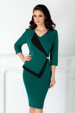 Rochie midi conica verde cu rever stil sacou Linda de ocazie pentru femei plinute