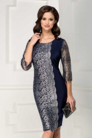 Rochie midi eleganta bleumarin de seara cu broderie argintie si decolteu rotund Malini