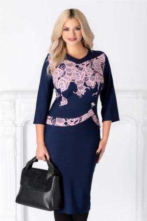Rochie midi eleganta bleumarin cu peplum si imprimeu cu trandafiri roz Marta