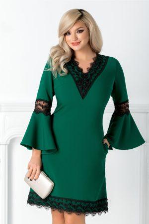 Rochie de nunta verde scurta cu dantela si margele prevazuta cu maneci trei-sferturi tip clopot Marta