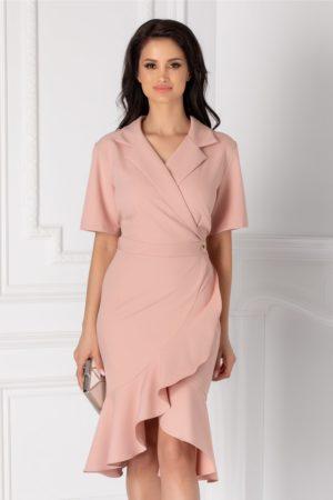 Rochie asimetrica roz prafuit de primavara cu decolteu in V petrecut si fusta mulata cu volanase discrete Mery