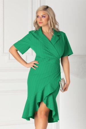 Rochie asimetrica verde de primavara cu decolteu in V petrecut si fusta mulata cu volanase discrete Mery
