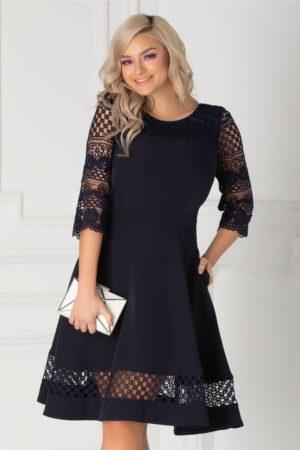 Rochie de ocazie bleumarin midi eleganta cu maneci trei sferturi din broderie florala Miruna
