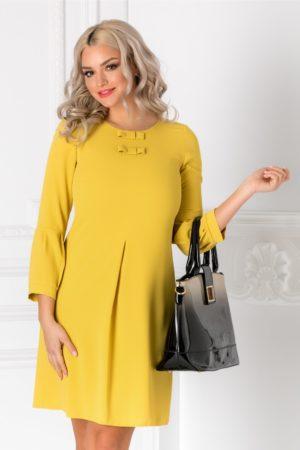 Rochie dreapta galben mustar eleganta cu pliu in partea din fata si fundite discrete la decolteu Moze