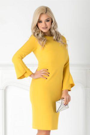 Rochie midi galbena eleganta cu croiala conica si maneci lungi Moze pentru tinute stilate