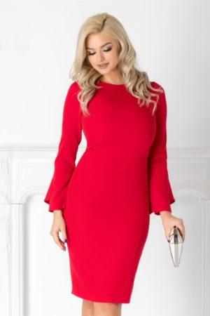 Rochie midi rosie eleganta cu croiala conica si maneci lungi Moze pentru tinute stilate
