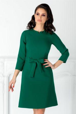 Rochie office scurta tip A de culoare verde cu curea simplista in talie Moze