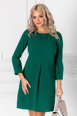 Rochie dreapta verde eleganta cu pliu in partea din fata si fundite discrete la decolteu Moze