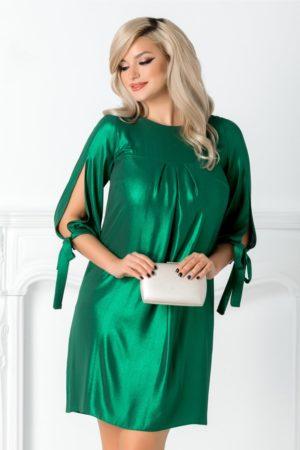 Rochie de seara verde metalizat eleganta cu pliuri si maneci trei sferturi decupate Moze