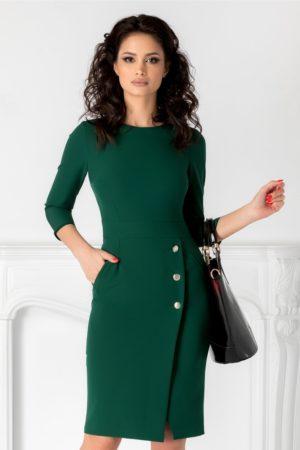Rochie midi verde office eleganta petrecuta la baza si accsorizata cu nasturi Moze
