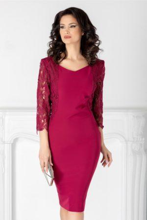 Rochie de seara bordo midi eleganta cu maneci trei sferturi din dantela Nikki pentru femei plinute