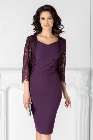 Rochie de seara mov midi eleganta cu maneci trei sferturi din dantela Nikki pentru femei plinute