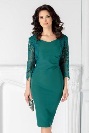 Rochie de seara verde midi eleganta cu maneci trei sferturi din dantela Nikki pentru femei plinute