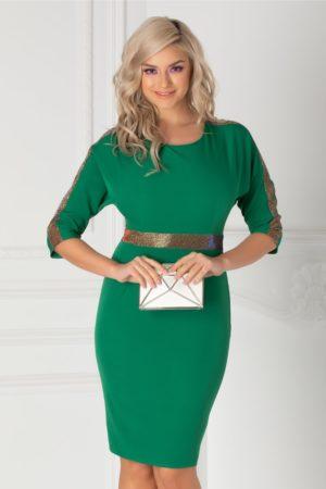 Rochie scurta conica verde eleganta cu benzi din sclipici si decolteu rotund Oana