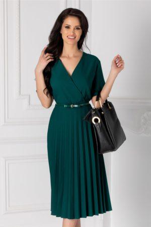 Rochie midi pana la genunchi verde inchis cu fusta plisata si decolteu in V petrecut Ofy