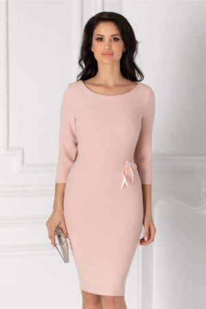 Rochie midi eleganta roz somon de ocazie cu fundita discreta in talie si maneci trei sferturi Olimpia
