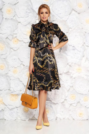 Rochie neagra de zi eleganta pentru office din material satinat cu print auriu PrettyGirl