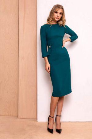 Rochie eleganta verde-inchis eleganta tip creion cu fundita discreta in talie si maneci trei-sferturi PrettyGirl
